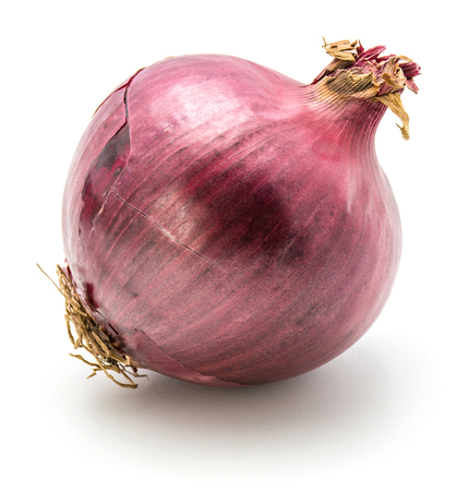One red onion isolated on white background