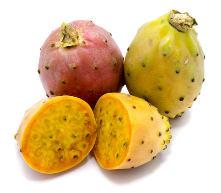 Group of two whole and sliced prickly pears, opuntia red, green and yellow, flesh with seeds, two halves, isolated on white background
