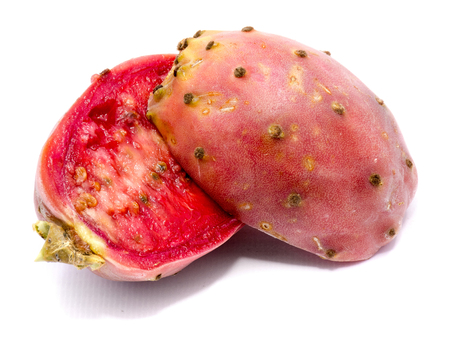 Sliced two halves of pink prickly pear isolated on white background