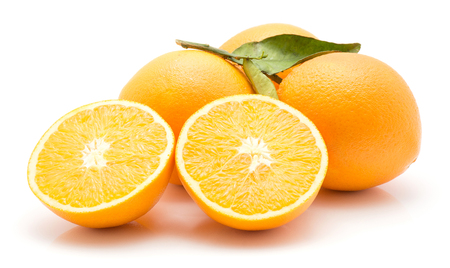 Oranges isolated on white background group of three whole and one cut in half two halves  Stock Photo