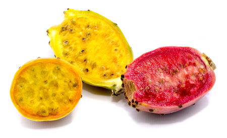 Sliced three colorful prickly pear halves of isolated on white background