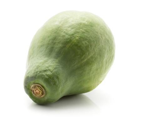 One green papaya (pawpaw, papaw) isolated on white background
