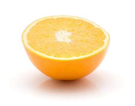 One orange half isolated on white background cross section  Stock Photo