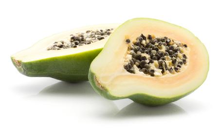 Sliced papaya (pawpaw, papaw) isolated on white background two cross section halves Stock Photo