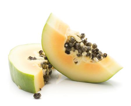 Two green papaya (pawpaw, papaw) slices isolated on white background  Stock Photo