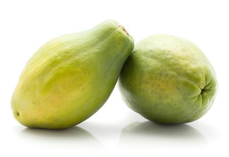 Pair green papaya (pawpaw, papaw) isolated on white background