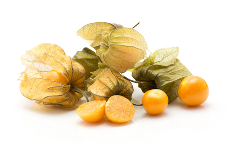 Physalis berries stack isolated on white background