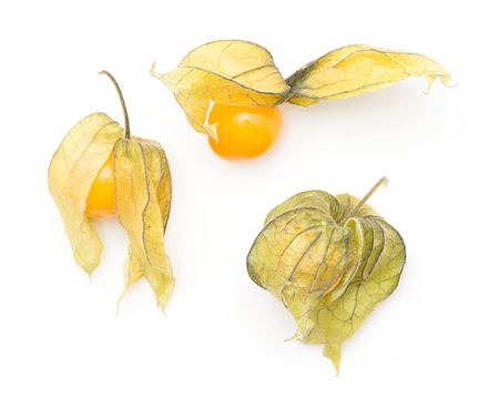 Physalis top view three berries isolated on white background  Stock Photo