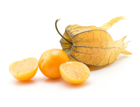 Physalis stack isolated on white background one in husk one orange berry and two halves  Stock Photo
