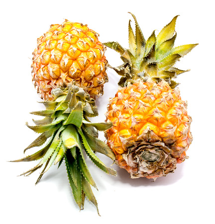 Two whole pineapples isolated on white background