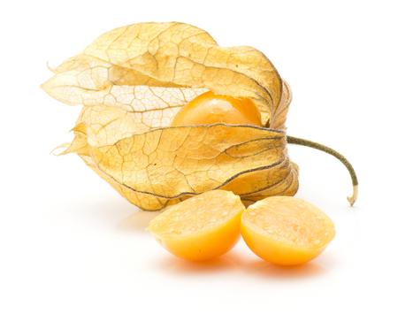 Physalis berries isolated on white background one berry in husk and two halves