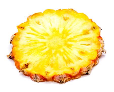One fresh round pineapple slice isolated on white background  Stock Photo