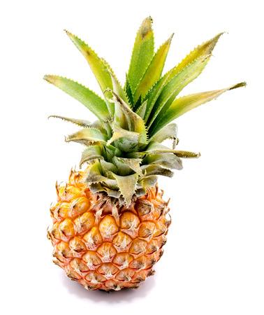 One whole pineapple isolated on white background