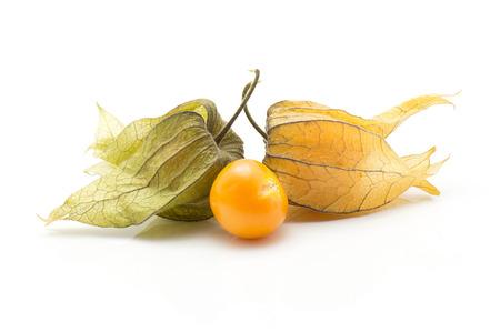 Physalis isolated on white background one orange berry  Stock Photo