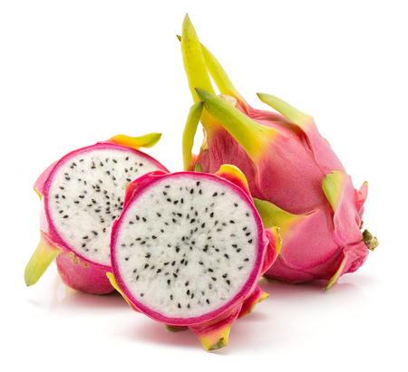 Dragon fruit (Pitaya, Pitahaya) isolated on white background one whole two sliced halves  Stockfoto