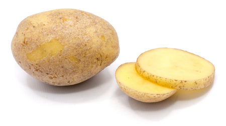 One whole potato and two slices isolated on white background  Stock Photo