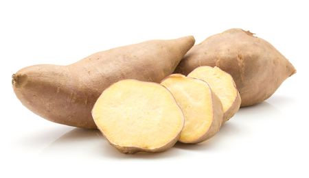 Two sweet potato and three slices isolated on white background Stok Fotoğraf