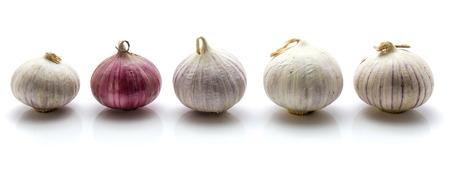 흰색 배경에 고립 된 행에 5 솔로 마늘 스톡 콘텐츠