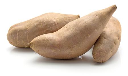 Three sweet potato isolated on white background