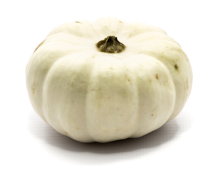One whole white pumpkin isolated on white background