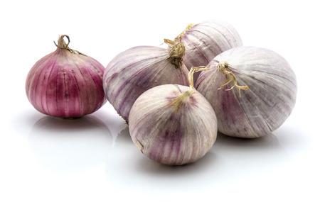 흰색 배경에 고립 솔로 진주 마늘의 그룹