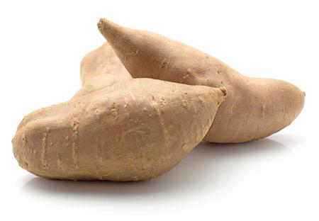 Sweet potato isolated on white background three raw  Stok Fotoğraf