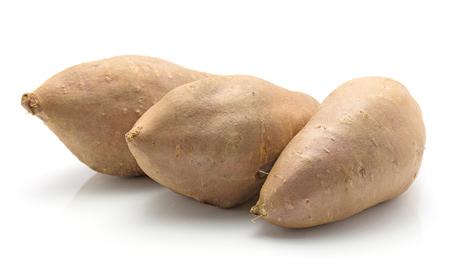 Three sweet potato in row isolated on white background  Stok Fotoğraf