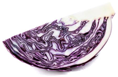 Sliced purple cabbage, one quarter, isolated on white background  Stock Photo