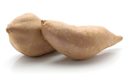 Two sweet potato isolated on white background