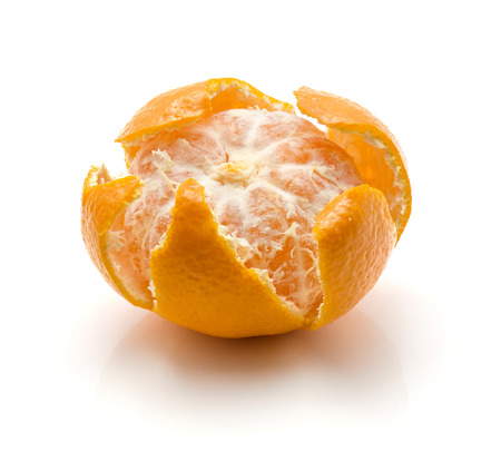 Open tangerine isolated on white background  Stock Photo