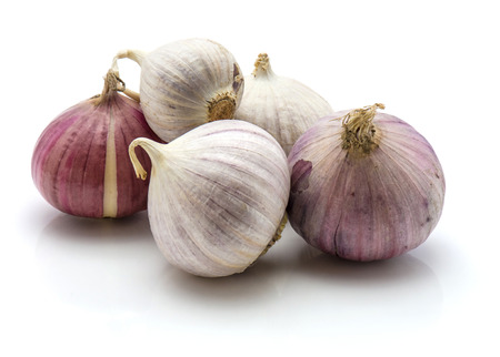 Group of solo garlic isolated on white background  Banco de Imagens