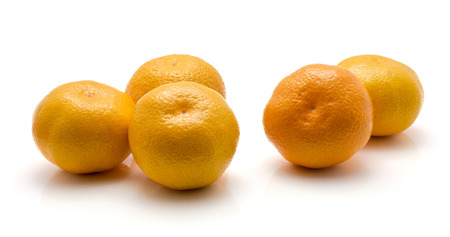 Five tangerines isolated on white background  Stock Photo