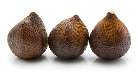 Snake fruit isolated on white background three salak in row