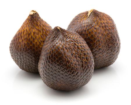 Salak isolated on white background three snake fruit