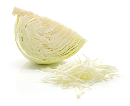 Sliced white cabbage quarter and chopped stack isolated on white background