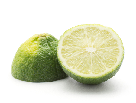 Lime two slice halves isolated on white background section  Stock Photo