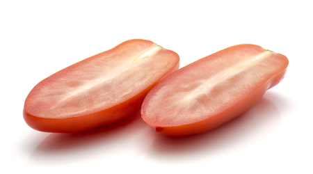 Sliced San Marzano tomato isolated on white background two halves