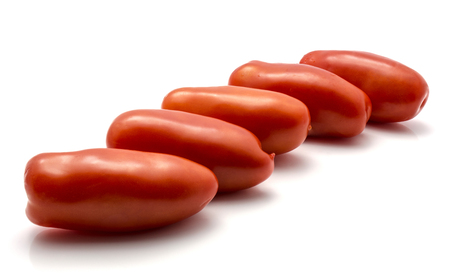 Ripe San Marzano tomato isolated on white background five whole red  Stock Photo