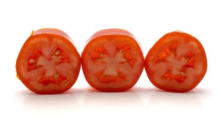 Sliced San Marzano tomato isolated on white background three rings  Stock Photo