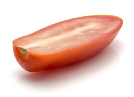 Sliced San Marzano tomato isolated on white background one half
