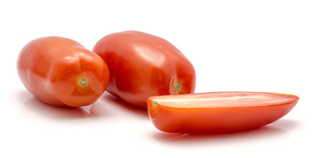 San Marzano tomato isolated on white background two whole and one half