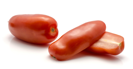 San Marzano tomato isolated on white background red one whole and two halves Stok Fotoğraf