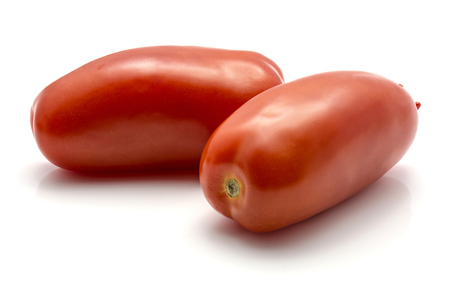 San Marzano tomato isolated on white background pair of whole red