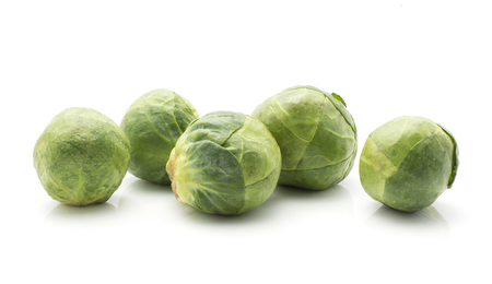 Brussels sprout raw five heads isolated on white background  Stock Photo