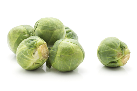 Brussels sprout isolated on white background fresh raw heads