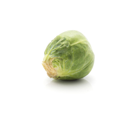 Raw Brussels sprout isolated on white background one fresh head