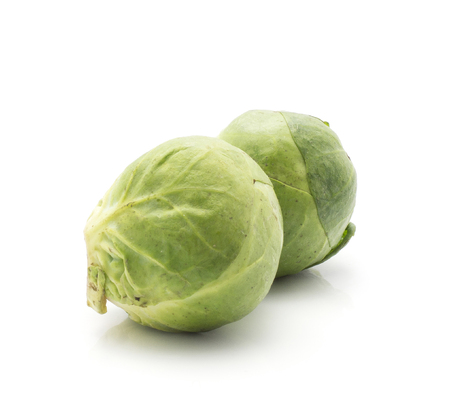 Brussels sprout two heads isolated on white background fresh raw
