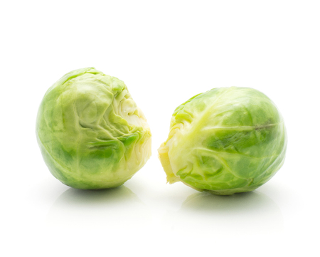 Boiled Brussels sprout isolated on white background two heads  Stock Photo
