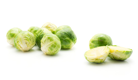 Boiled Brussels sprout stack isolated on white background