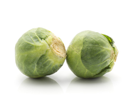 Brussels sprout isolated on white background two heads fresh raw